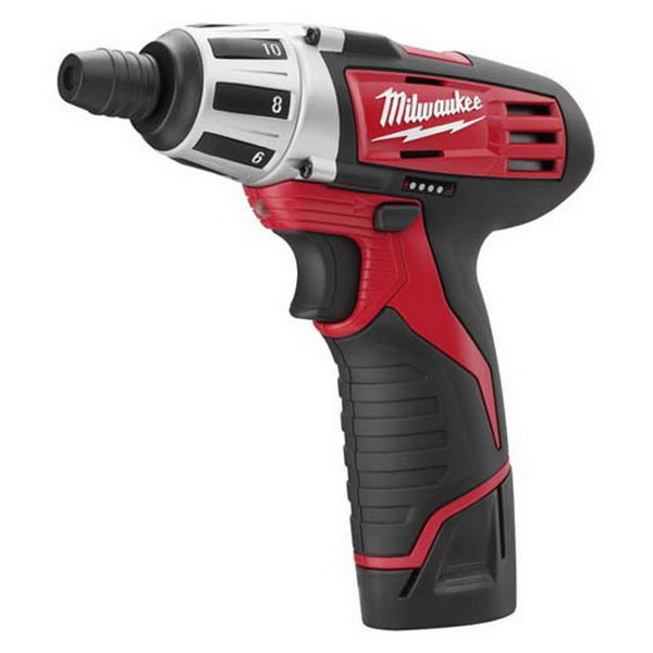 Milwaukee Tools 2401-22 M12 Cordless Hex Screwdriver Kit 12 Volt, 175 Inch-lb, 1/2 Inch Steel, 1/4 Inch Wood, 1/4 Inch Chuck, 7 Inch Length,""