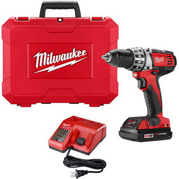 Milwaukee Tools 2601-21 M18 Cordless Compact Drill/Driver Kit with Battery 18 Volt, Metal Single Sleeve - Ratcheting Lock, 1/2 Inch Chuck, 500 RPM Low, 1500 RPM High RPM, 7-3/4 Inch Long,