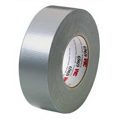 3M 6969-2X60 Extra Heavy Duty Duct Tape; 54.8 m x 48 Inch x 0.27 mm, Polyethylene Film Over Cloth Scrim Backing, Rubber Adhesive, Silver
