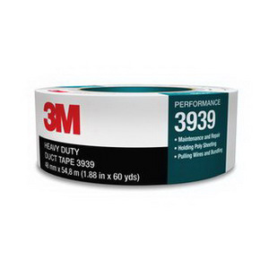 3M 3939-48MMX55M Heavy Duty Duct Tape; 54.8 m x 48 Inch x 0.23 mm, Polyethylene Film Over Cloth Scrim Backing, Rubber Adhesive, Silver
