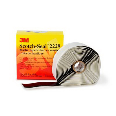 3M 2229-3-3/4X10FT Scotch-Seal™ Premium Grade Sealing and Insulating Tape; 10 ft x 3/4 Inch x 125 mil, Rubber Backing, Mastic Adhesive, Black