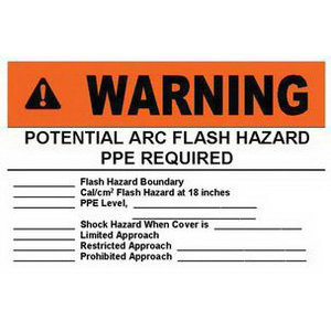 Panduit PVS0305W2101Y Safety Arc Flash Label; Black/Orange On White, WARNING