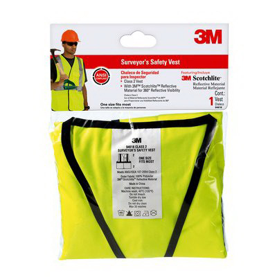 3M 94618 Tekk Protection™ High-Visibility Reflective Surveyor's Safety Vest; Flourescent Yellow with Silver Scotchlite Trim