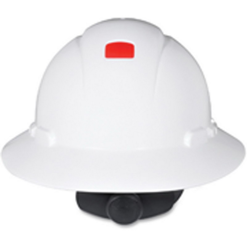 3M H-801R-UV-EA H-800 Series Non-Vented Full Brim Hard Hat With Uvicator Sensor; 4-Point Ratchet Suspension, Class C/G/E Dielectric, HDPE, White, 20/CS