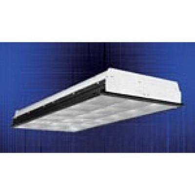 Cooper Lighting 2EP3GAVX2U6T8S33I-UNV-EB81U Metalux® Standard Paralux III Series Parabolic Troffer; 64 Watt, 120 - 277 Volt, 2-Lamps, Ceiling Mount, Steel, Silver Louver
