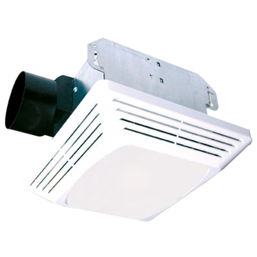 Air King ASLC90 ASLC Series Exhaust Fan With Light; 120 Volt, 0.45 Amp, 90 cfm At 0.1 Inch, 2.5 Sones At 0.1 Inch, 4 Inch Duct, Ceiling Mount, White