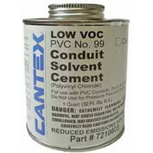 Cantex 7210413 Solvent Cement; 1 qt, Can, Clear
