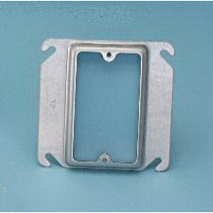 Mulberry 11226 Raised Square Device Cover; Drawn Steel, 1/2 Inch Depth, 1-Gang Switch Configuration, For 4 Inch Square Boxes