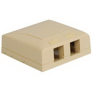 ICC IC108SB2IV Elite Surface Power Mount Box 2-Port Adhesive Backing/Magnet/Screw Mount ABS Plastic Ivory