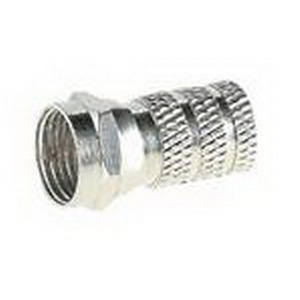 NSI FC6T Twist-On Foil-Shield Straight F Connector; Crimp-On, Nickel Plated