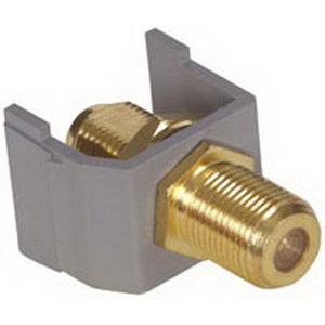 Hubbell Premise SFFGGY iSTATION™ Bulkhead AV F-Type Coupler; RG-6 and RG-5975 Ohm Coax, Female, Snap-Fit Mount, Gold-Plated, Gray