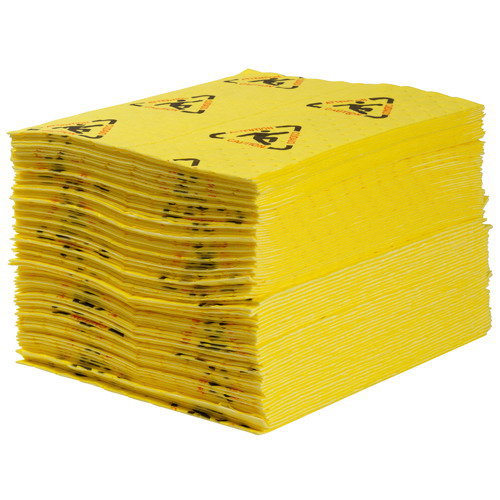 Brady CH100 Maxx Perforated Chemical Sorbent Pad 19 Inch x 15 Inch- 30 gal/bale- Polypropylene- Yellow-