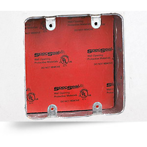 Specified Technologies EP45 PowerShield® Fire Stop Electrical Box Insert; 4-1/2 Inch Length x 4-1/2 Inch Width x 1/8 Inch Depth, Red