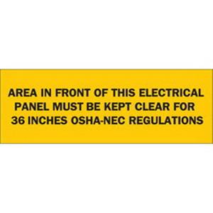 Brady 84949 Self-Sticking Electrical Hazard Sign; Polyester, Black On Yellow