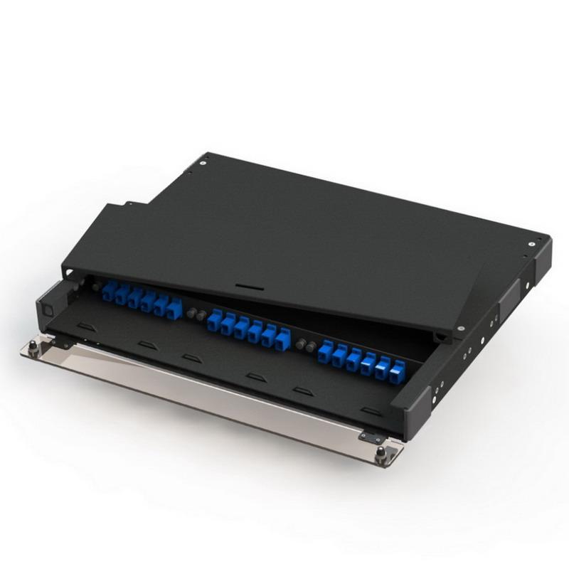Multi-Link 045-686-10 Slide-Out Removable Top Fiber Distribution Unit; 1-Rack Unit, Rack Mount, Steel, Black