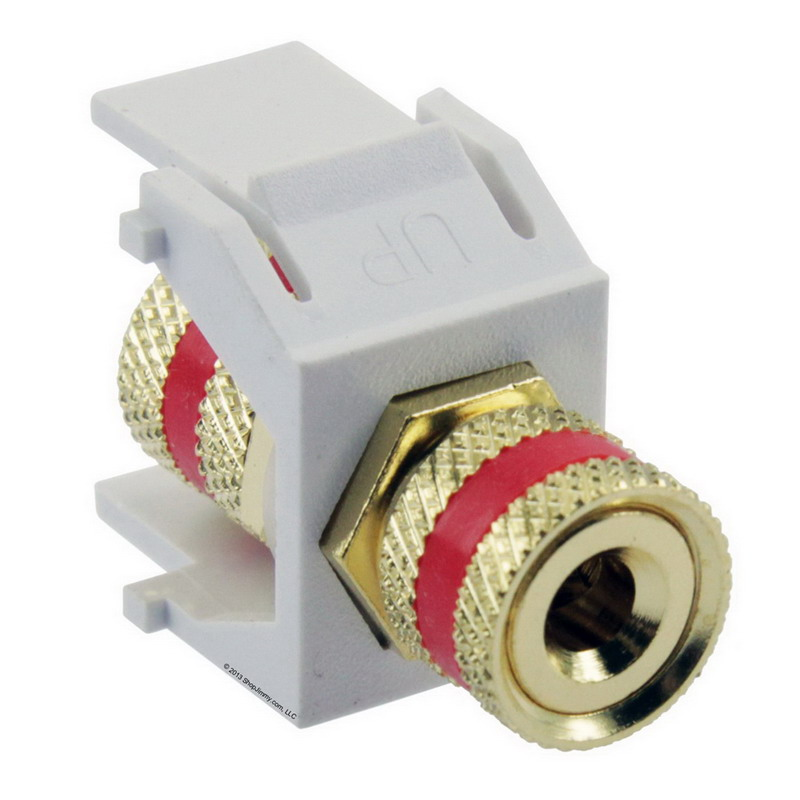 Signamax CMK-RA-WH Keystone 3-Way Binding Post Connector Module; White/Red Code