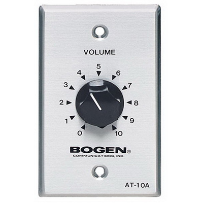 Bogen Communications AT10A AT-Series 1-Gang Attenuator; 2-3/4 Inch Width x 2-3/4 Inch Depth x 4-1/2 Inch Height