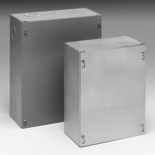 Cooper B-Line 10104SC Screw Cover Junction Box; 10 Inch Width x 4 Inch Depth x 10 Inch Height, Acrylic Electrocoated Over Phosphatized Surface, Lift-Off Cover