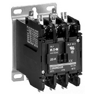 Eaton / Cutler Hammer C25DND230B Open Definite Purpose Contactor; 2 Pole, 30 Amp Load and 40 Amp Resistive, 208 - 240 Volt At 50/60 Hz Coil