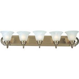Maxim 8015MRSN Essentials Collection 5-Light Bath Vanity Light Fixture; 500 Watt, 120 Volt, Wall Mount, Aluminum, Satin Nickel