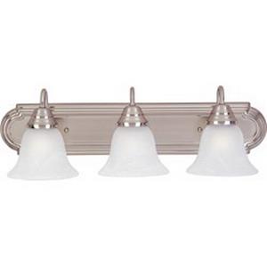 Maxim 8013MRSN Essentials Collection 3-Light Bath Vanity Light Fixture; 300 Watt, 120 Volt, Wall Mount, Aluminum, Satin Nickel
