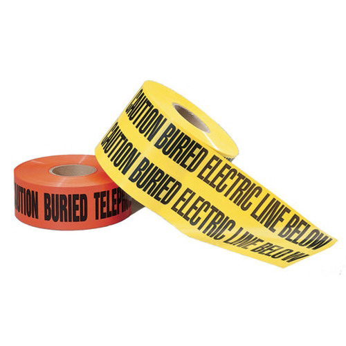 Ideal 42-151 Non-Detectable Underground Tape; 1000 ft x 6 Inch x 4 mil, Caution Buried Electric Line Below, LDPE, Black On Red Background
