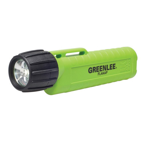 Greenlee FL4AAP Waterproof Flashlight 120 Lumens- 631 ft- 4 Alkaline Included- ABS Plastic Body-
