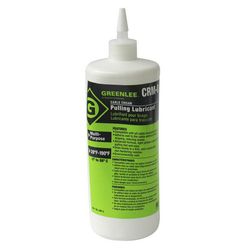 Greenlee CRM-Q Cable-Cream® Non-Hazardous Cable Pulling Lubricant; 1 qt, Squeeze Bottle, Opaque/Yellow