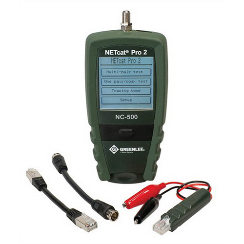 Greenlee NC-500 NETcat® Pro VDV Tester; 9 Volt Alkaline Battery, 128 x 128 Dots LCD, RJ45 Shielded Jacks F-Type Threaded Female Coaxial, LCD Touch-Screen/Single Momentary Contact Push Button Switch, 0 - 2000 ft TDR Rang