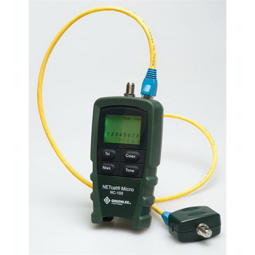 Greenlee NC-100 NETcat VDV Tester 9 Volt Alkaline Battery PP3, 577/983 Hz, Icon and Seven Segment Type LCD, RJ45 Shielded Socket, RJ12 6-Way Socket, F-Type Threaded Female Coaxial, Four Momentary Contact Push Button Switch,""