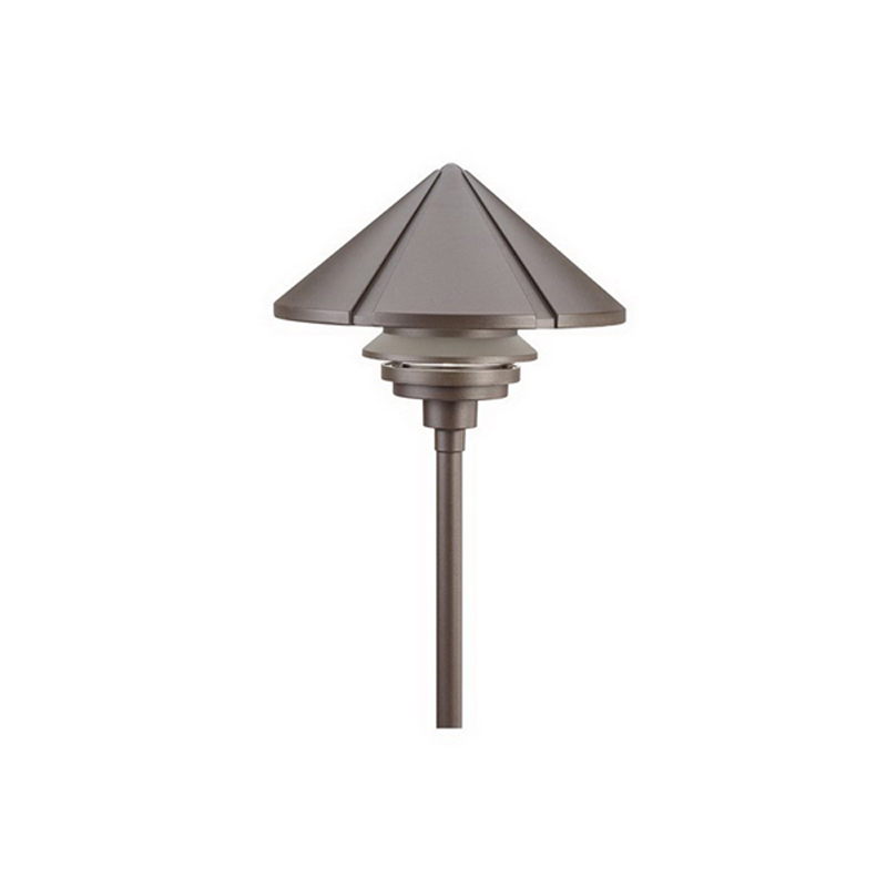 Kichler 15211AZT 1-Tier Dome Path and Spread Light; 75 Watt, 120 Volt AC, Textured Architectural Bronze Housing, High-Impact Resistant Diffuser, Clear Polycarbonate Glass, Black