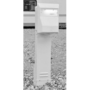 Midwest U010G Unmetered Top/Overhead Feed Pedestal Power Outlet; 120 Volt, 20 Amp, Galvanized Steel
