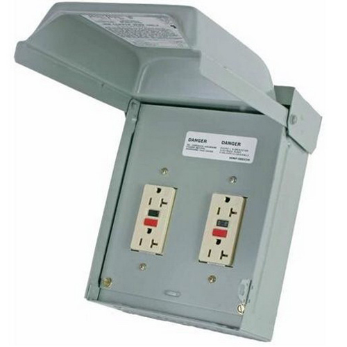 Midwest U011010 Unmetered Overhead Feed Heavy Duty Pedestal Power Outlet; 120/240 Volt, 20 Amp, Galvanized Steel