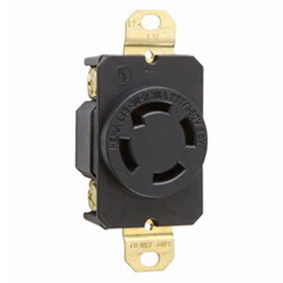 Pass & Seymour L1930-R Turnlok Locking Single Receptacle 277/480 Volt AC  4-Pole  10-14 AWG  Thermoplastic  Black/White
