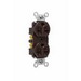 Pass & Seymour 5662 Heavy-Duty Specification Grade Duplex Receptacle; 250 Volt AC, 2-Pole, 10-14 AWG, Nylon, Brown