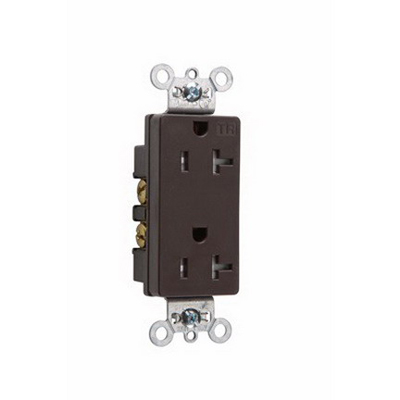 Pass & Seymour TR26362 Heavy-Duty Specification Grade Tamper-Resistant Decorator Duplex Receptacle 125 Volt AC 10-14 AWG 2-Pole Thermoplastic Brown