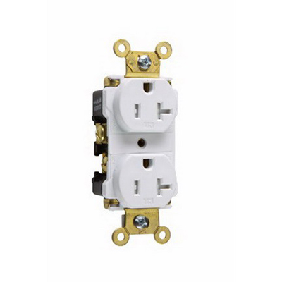 Pass & Seymour TR63-W Specification Grade Tamper-Resistant Duplex Receptacle 125 Volt AC 10-14 AWG 2-Pole Thermoplastic White