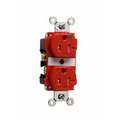 Pass & Seymour TR63-HRED Hospital Grade Tamper-Resistant Duplex Receptacle 125 Volt AC 10-14 AWG 2-Pole Thermoplastic Red