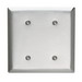 Pass & Seymour SL24 2-Gang Standard Size Blank Plate; 430 Stainless Steel, Silver, Strap Mount