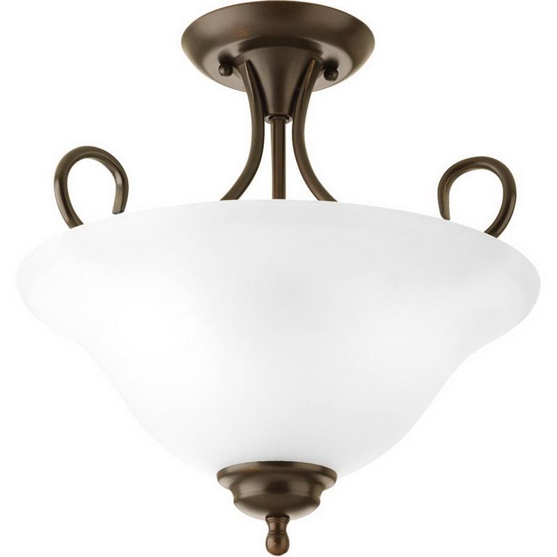 Progress Lighting P3460-20ET Semi-Flush Family 2-Light Close-to-Ceiling Light Fixture; 120 Watt, 120 Volt, Semi-Flush Mount, Steel, Antique Bronze, Alabaster Shade