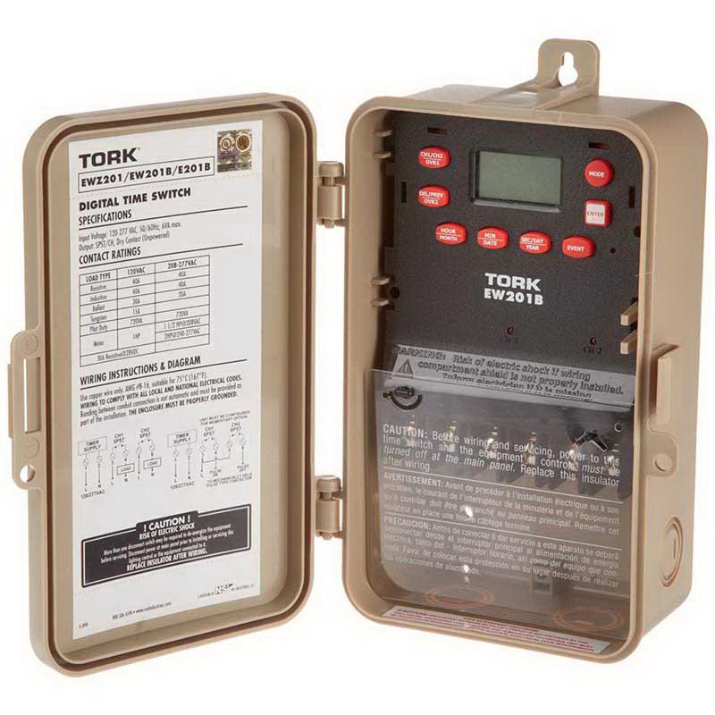 NSI EW201B Tork&reg EW Series 1 or 2 Channel Multi Volt On-Off Digital Time Switch 40 Amp  120/277 Volt  50/60 Hz  1-Pole  Plastic