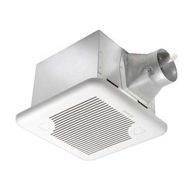 Delta SIG110 BreezSignature Bath Fan; 12.7/15.6 Watt, 120 Volt, 0.38 Amp, 60 Hz, 4 Inch Duct, Ceiling Mount, 110 cfm At 0.1 Inch/96 cfm At 0.25 Inch, Less Than 0.3 Sones At 0.1 Inch/1.2 Sones At 0.25 Inch, Square