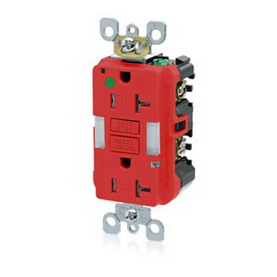 Leviton X7892-HGR SmartlockPro Delrin Monochromatic Tamper-Resistant GFCI Receptacle With Guide Light 20 Amp 125 Volt 2-Pole Polycarbonate Body and PBT Face Red