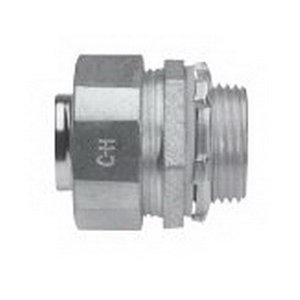 Midwest LTB50GC Liquidator Straight Liquidtight Conduit Connector With Copper Grounding Lug 1/2 Inch  Threaded  Malleable Iron  Electro-Plated Zinc