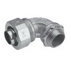 Midwest LTB5090GC Liquidator 90 Degree Liquidtight Conduit Connector With Copper Grounding Lug 1/2 Inch  Threaded  Malleable Iron  Electro-Plated Zinc