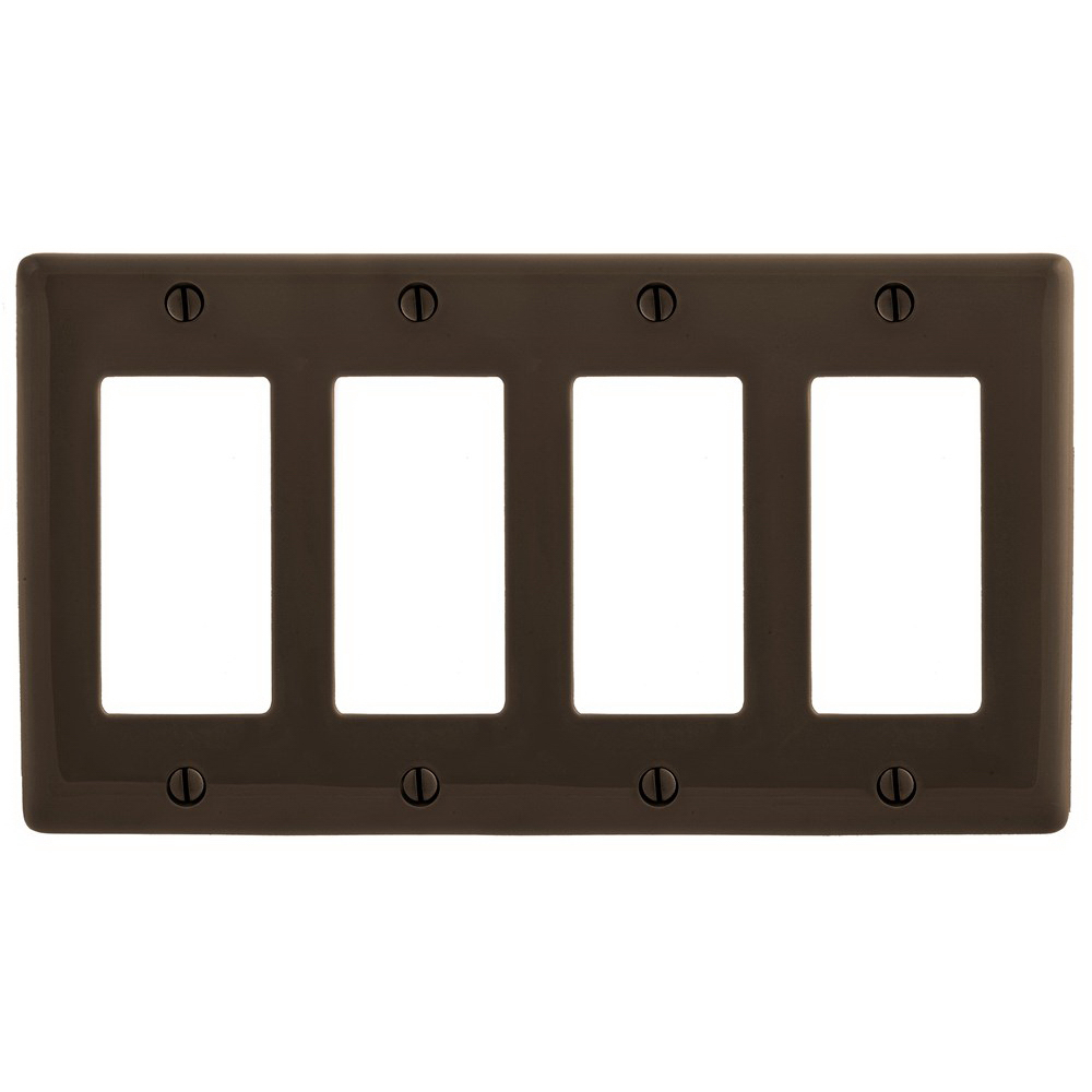 Hubbell Wiring NP264 Bryant® 4-Gang Decorator Faceplate; (4) Decorator, Screw Mount, Nylon, Brown
