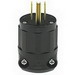 Leviton 5266-CB Straight Blade Plug; 15 Amp, 125 Volt, 2-Pole, 3-Wire, NEMA 5-15P, Cable Mount, Black
