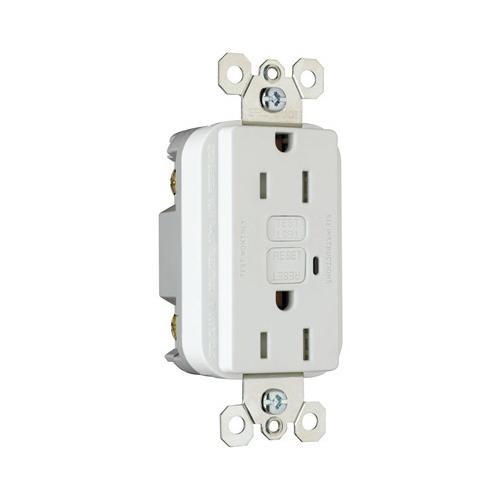 Pass & Seymour 1595-TRWCC4 TradeMaster® Tamper Resistant Decorator GFCI Duplex Receptacle; 15 Amp, 125 Volt AC, 2-Pole, 3-Wire, NEMA 5-15R NEMA, Wallplate Mount, White