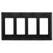 Hubbell Wiring NP264BK Bryant® 4-Gang Decorator Faceplate; (4) Decorator, Screw Mount, Nylon, Black