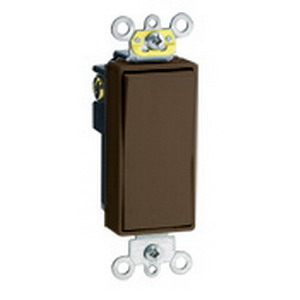 Leviton 5624-2 Decora Plus™ Decora® Rocker 4-Way AC Quiet Switch; 20 Amp, 120/277 Volt AC, Self-Grounding, Thermoplastic, Brown